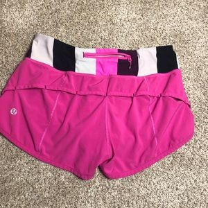 rare hot pink lululemon speed up shorts